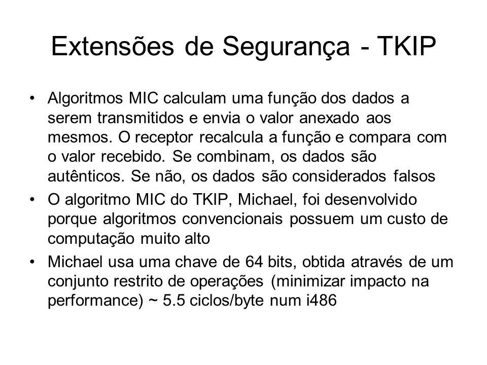 Extensões de Segurança - TKIP Algoritmos MIC calculam uma função dos dados a serem transmitidos e envia o valor anexado aos mesmos. O receptor recalcu