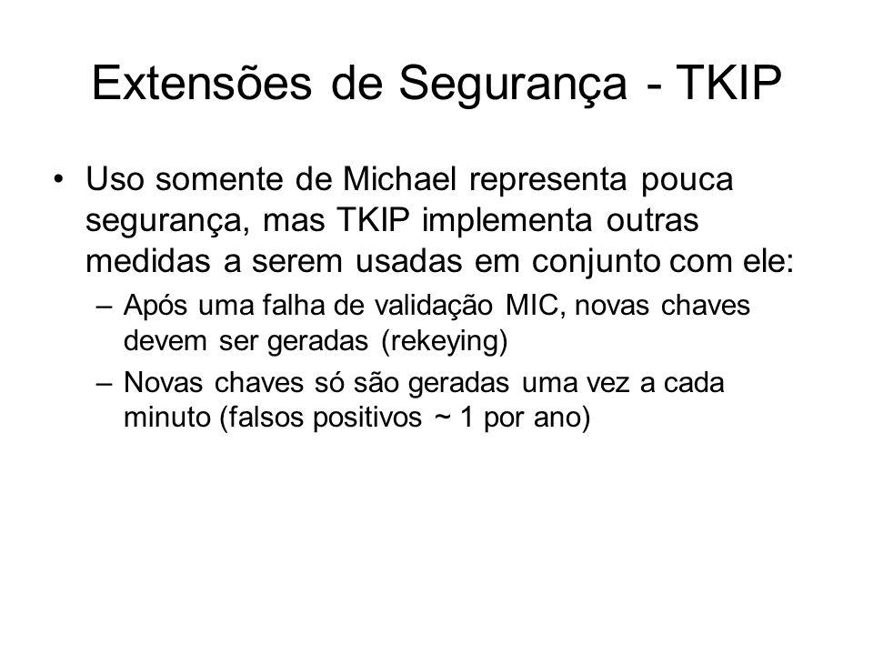 Extensões de Segurança - TKIP Uso somente de Michael representa pouca segurança, mas TKIP implementa outras medidas a serem usadas em conjunto com ele