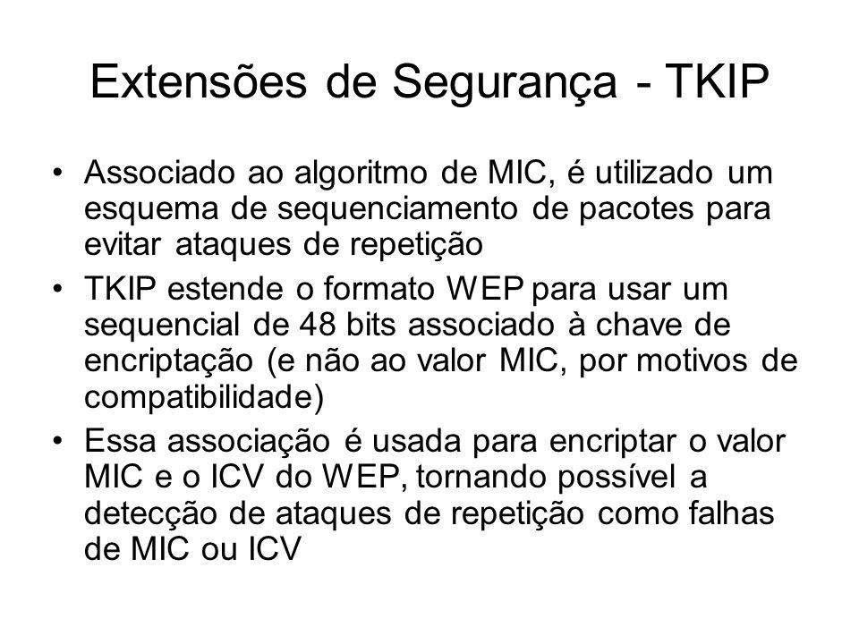 Associado ao algoritmo de MIC, é utilizado um esquema de sequenciamento de pacotes para evitar ataques de repetição TKIP estende o formato WEP para usar um sequencial de 48 bits associado à chave de encriptação (e não ao valor MIC, por motivos de compatibilidade) Essa associação é usada para encriptar o valor MIC e o ICV do WEP, tornando possível a detecção de ataques de repetição como falhas de MIC ou ICV