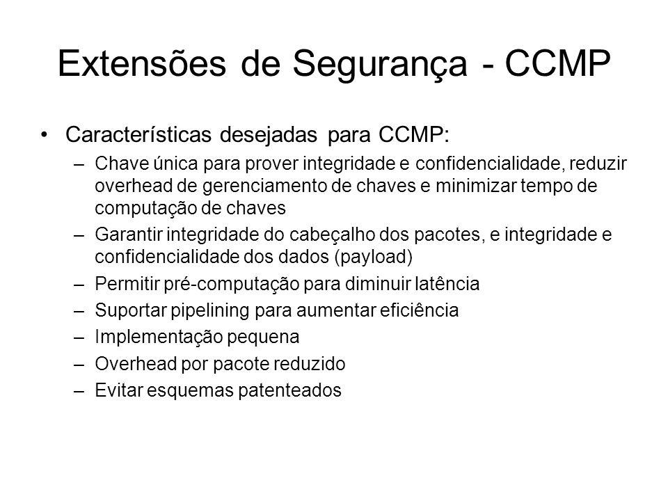 Extensões de Segurança - CCMP Características desejadas para CCMP: –Chave única para prover integridade e confidencialidade, reduzir overhead de gerenciamento de chaves e minimizar tempo de computação de chaves –Garantir integridade do cabeçalho dos pacotes, e integridade e confidencialidade dos dados (payload) –Permitir pré-computação para diminuir latência –Suportar pipelining para aumentar eficiência –Implementação pequena –Overhead por pacote reduzido –Evitar esquemas patenteados