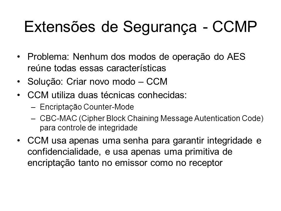 Extensões de Segurança - CCMP Problema: Nenhum dos modos de operação do AES reúne todas essas características Solução: Criar novo modo – CCM CCM utili