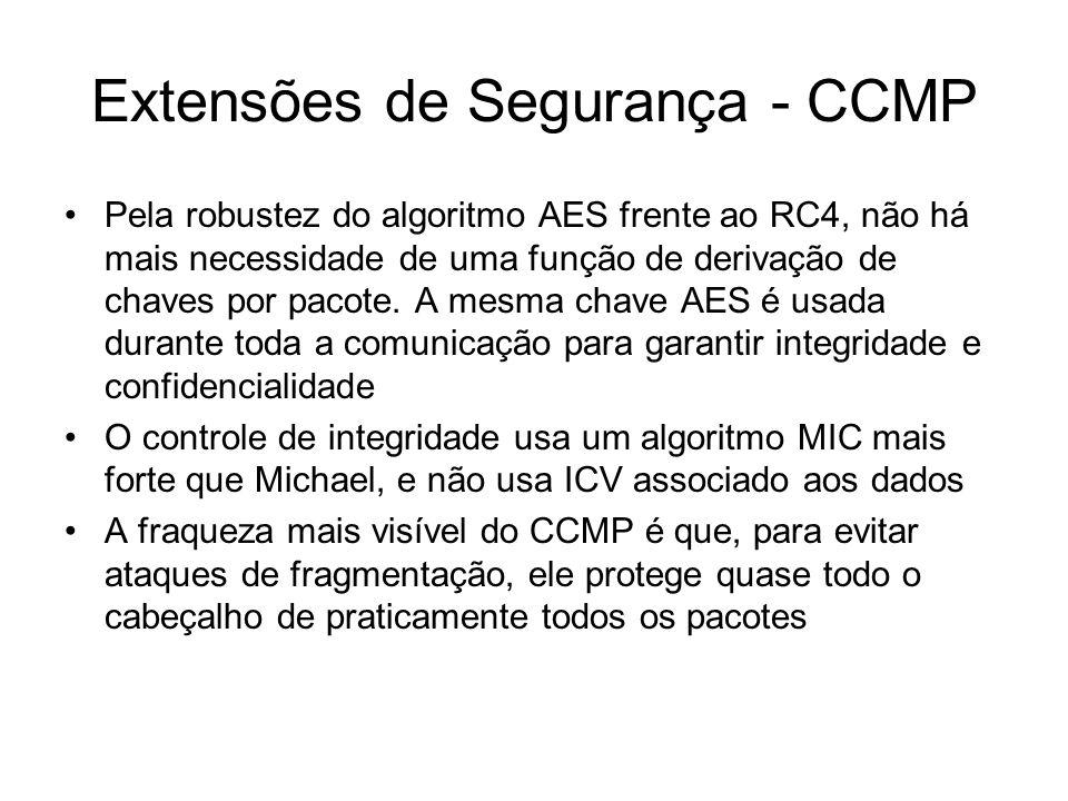 Extensões de Segurança - CCMP Pela robustez do algoritmo AES frente ao RC4, não há mais necessidade de uma função de derivação de chaves por pacote. A