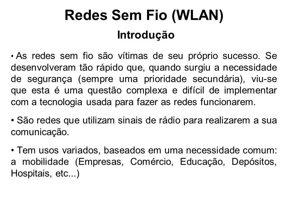 Redes Sem Fio (WLAN) Introdução As redes sem fio são vítimas de seu próprio sucesso. Se desenvolveram tão rápido que, quando surgiu a necessidade de s