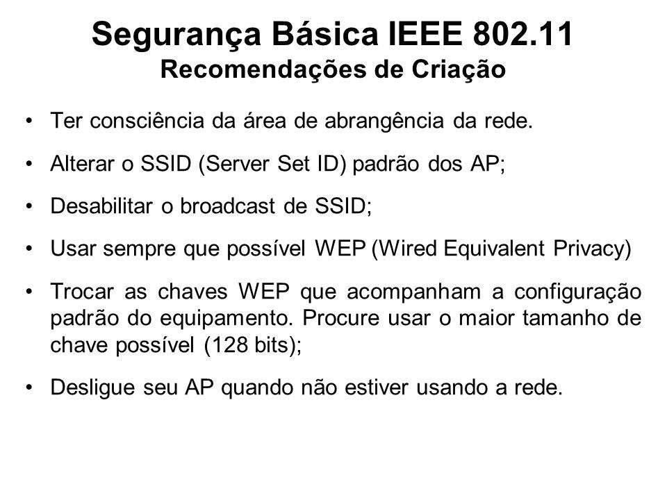 Segurança Básica IEEE 802.11 Recomendações de Criação Ter consciência da área de abrangência da rede. Alterar o SSID (Server Set ID) padrão dos AP; De