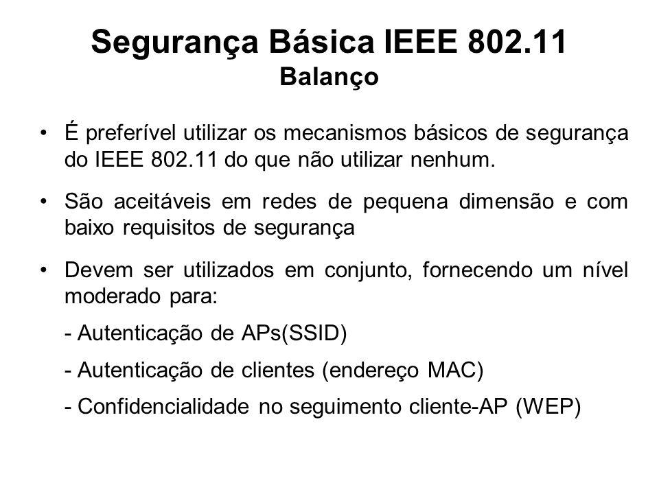 Segurança Básica IEEE 802.11 Balanço É preferível utilizar os mecanismos básicos de segurança do IEEE 802.11 do que não utilizar nenhum. São aceitávei