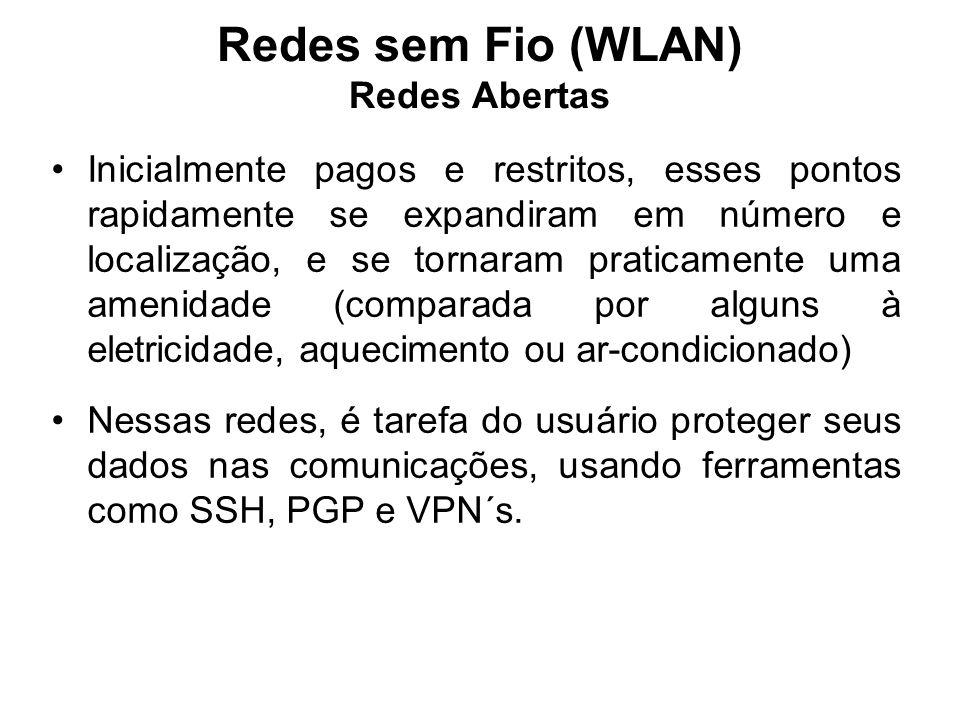 Redes sem Fio (WLAN) Redes Abertas Inicialmente pagos e restritos, esses pontos rapidamente se expandiram em número e localização, e se tornaram prati