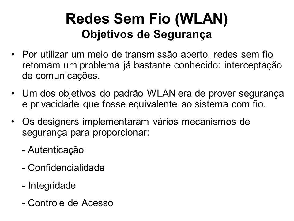 Redes Sem Fio (WLAN) Objetivos de Segurança Por utilizar um meio de transmissão aberto, redes sem fio retomam um problema já bastante conhecido: interceptação de comunicações.