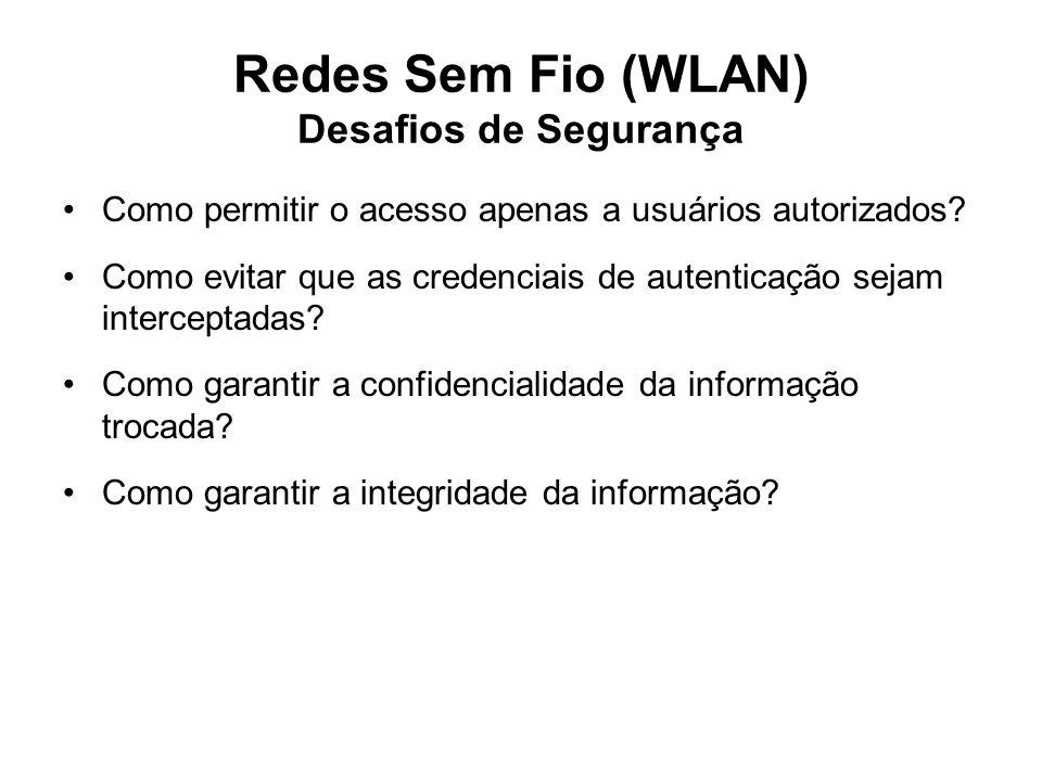 Redes Sem Fio (WLAN) Desafios de Segurança Como permitir o acesso apenas a usuários autorizados? Como evitar que as credenciais de autenticação sejam