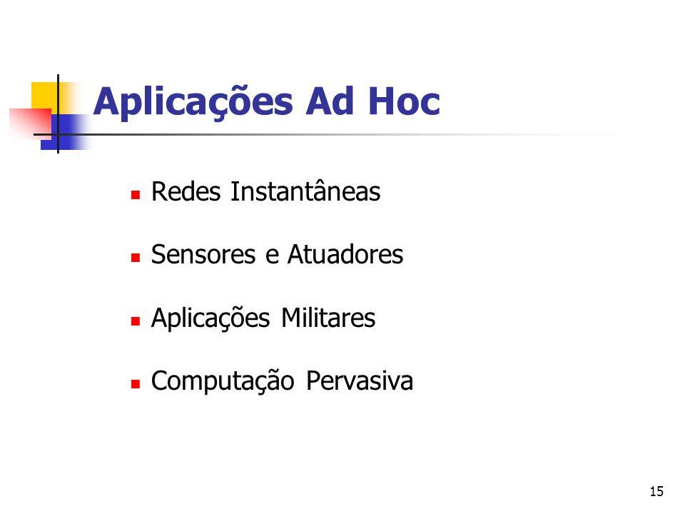 15 Aplicações Ad Hoc Redes Instantâneas Sensores e Atuadores Aplicações Militares Computação Pervasiva