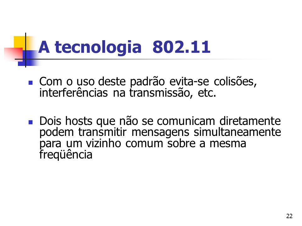 22 A tecnologia 802.11 Com o uso deste padrão evita-se colisões, interferências na transmissão, etc. Dois hosts que não se comunicam diretamente podem