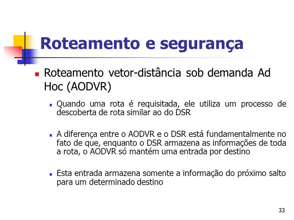 33 Roteamento vetor-distância sob demanda Ad Hoc (AODVR) Quando uma rota é requisitada, ele utiliza um processo de descoberta de rota similar ao do DS