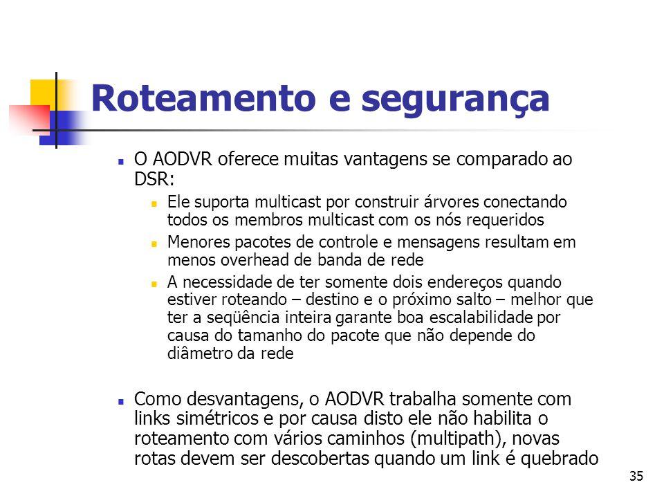 35 Roteamento e segurança O AODVR oferece muitas vantagens se comparado ao DSR: Ele suporta multicast por construir árvores conectando todos os membro