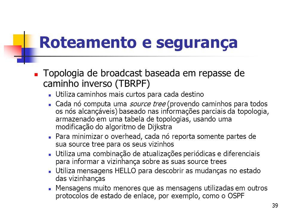 39 Roteamento e segurança Topologia de broadcast baseada em repasse de caminho inverso (TBRPF) Utiliza caminhos mais curtos para cada destino Cada nó