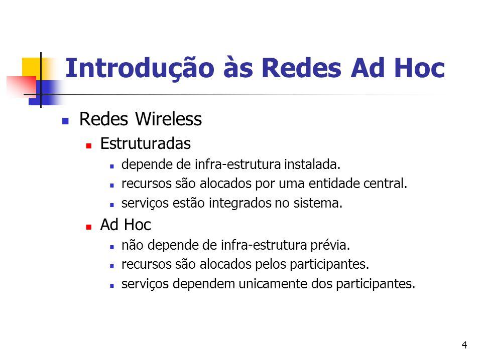 4 Redes Wireless Estruturadas depende de infra-estrutura instalada. recursos são alocados por uma entidade central. serviços estão integrados no siste