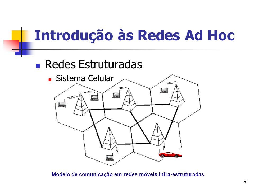 5 Modelo de comunicação em redes móveis infra-estruturadas Redes Estruturadas Sistema Celular