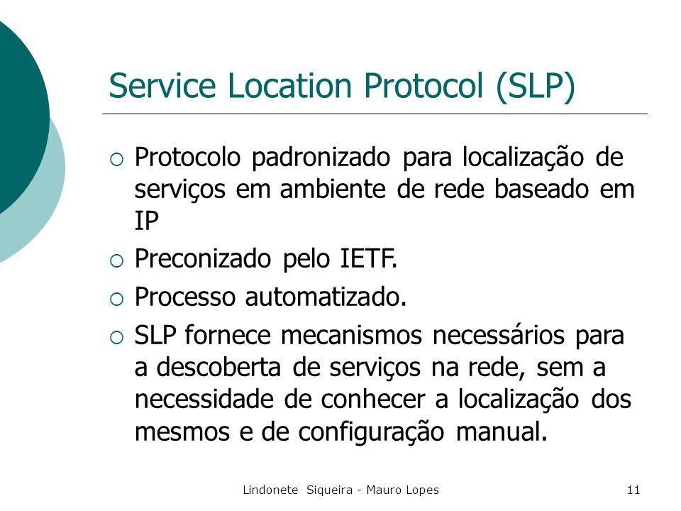 Lindonete Siqueira - Mauro Lopes11 Service Location Protocol (SLP)  Protocolo padronizado para localização de serviços em ambiente de rede baseado em IP  Preconizado pelo IETF.