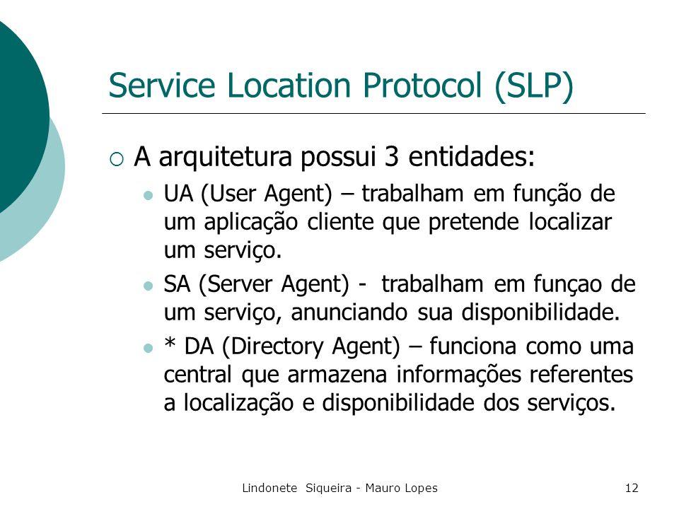 Lindonete Siqueira - Mauro Lopes12 Service Location Protocol (SLP)  A arquitetura possui 3 entidades: UA (User Agent) – trabalham em função de um aplicação cliente que pretende localizar um serviço.