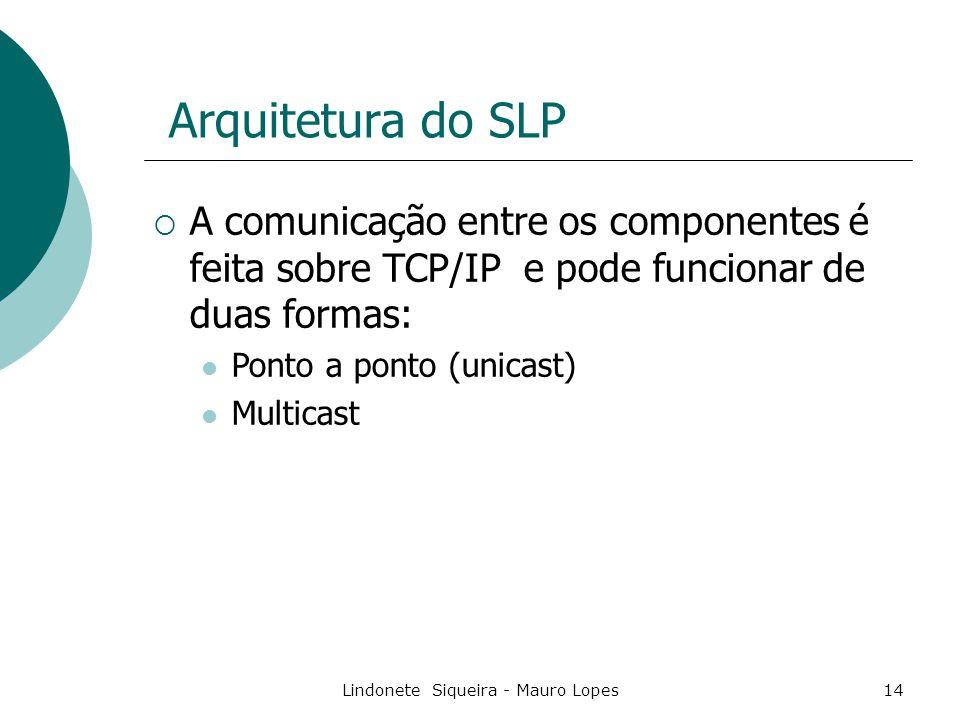 Lindonete Siqueira - Mauro Lopes14 Arquitetura do SLP  A comunicação entre os componentes é feita sobre TCP/IP e pode funcionar de duas formas: Ponto a ponto (unicast) Multicast