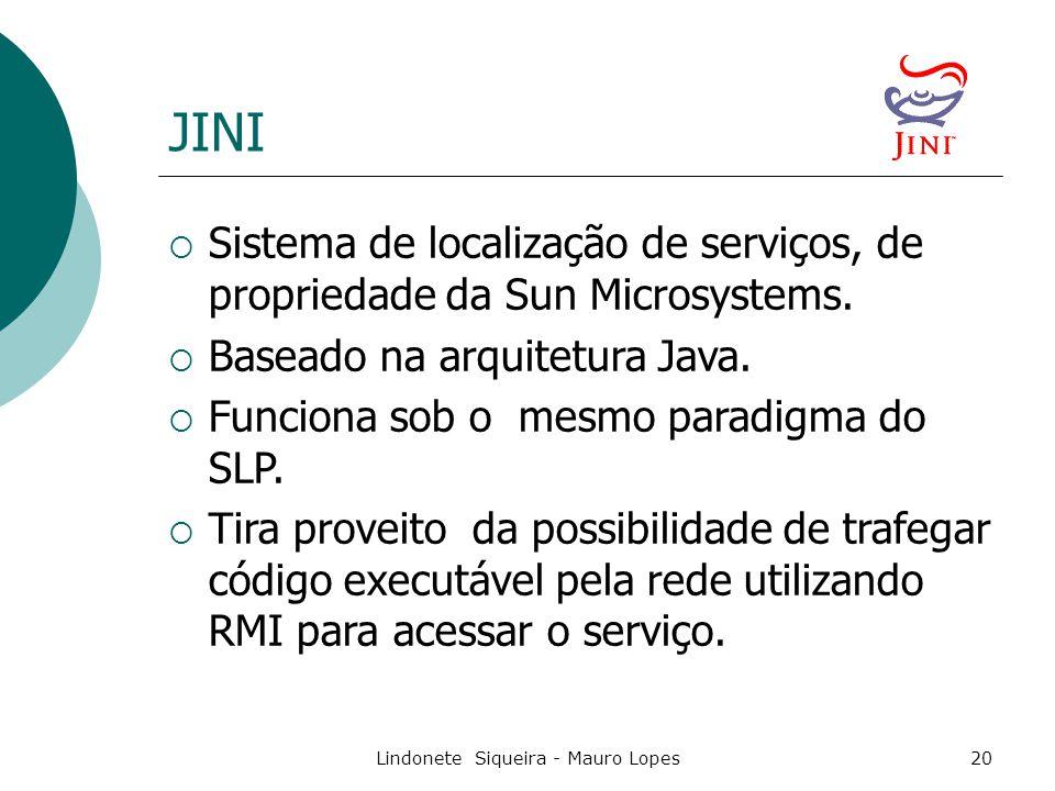 Lindonete Siqueira - Mauro Lopes20 JINI  Sistema de localização de serviços, de propriedade da Sun Microsystems.