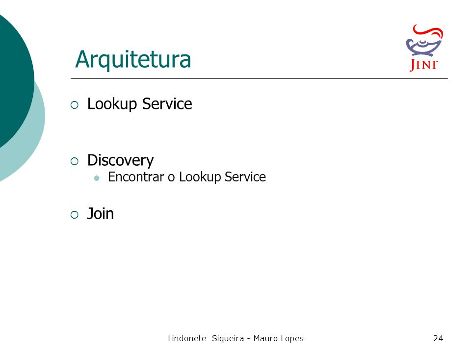 Lindonete Siqueira - Mauro Lopes24 Arquitetura  Lookup Service  Discovery Encontrar o Lookup Service  Join