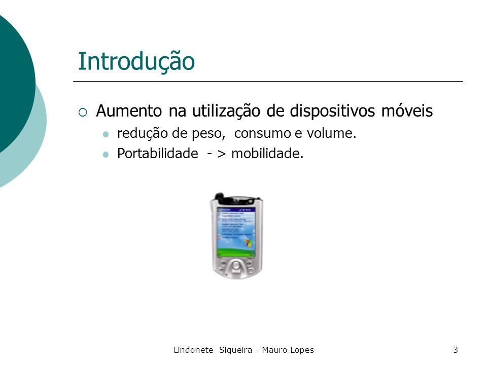 Lindonete Siqueira - Mauro Lopes3 Introdução  Aumento na utilização de dispositivos móveis redução de peso, consumo e volume.