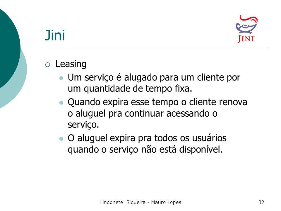 Lindonete Siqueira - Mauro Lopes32 Jini  Leasing Um serviço é alugado para um cliente por um quantidade de tempo fixa.