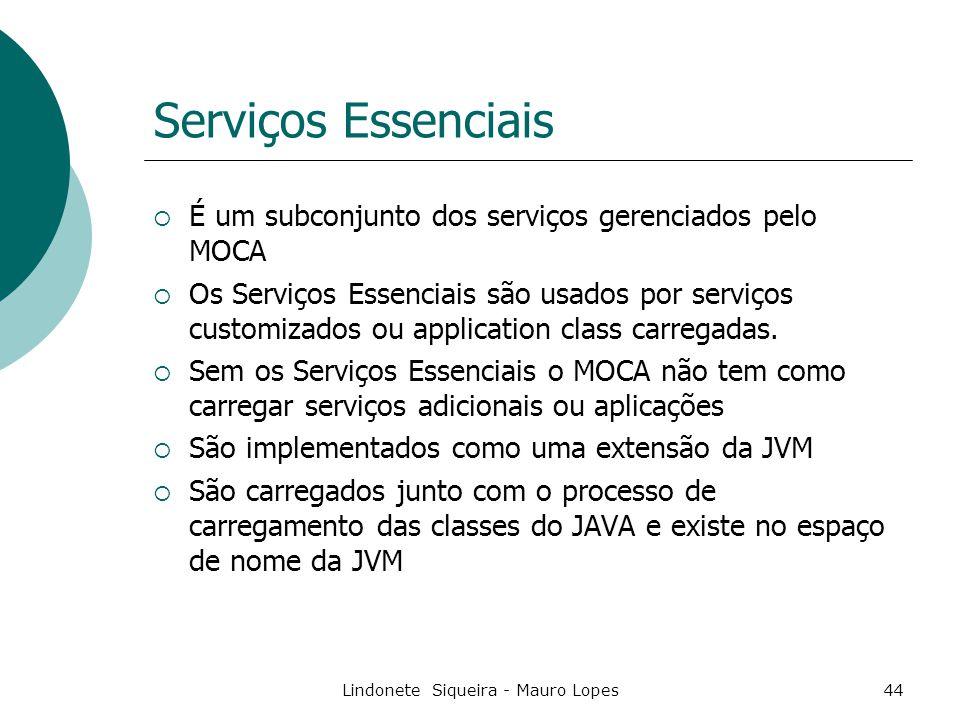 Lindonete Siqueira - Mauro Lopes44 Serviços Essenciais  É um subconjunto dos serviços gerenciados pelo MOCA  Os Serviços Essenciais são usados por serviços customizados ou application class carregadas.