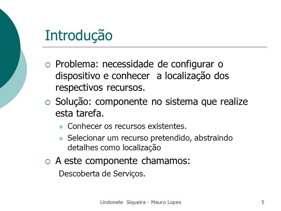 Lindonete Siqueira - Mauro Lopes36 SLP X JINI  JINI Interface de Serviços Java, RMI, mover objetos entre JVM  SLP Interface – brigde SLP/JINI Qualquer linguagem  Arquiteturas semelhantes