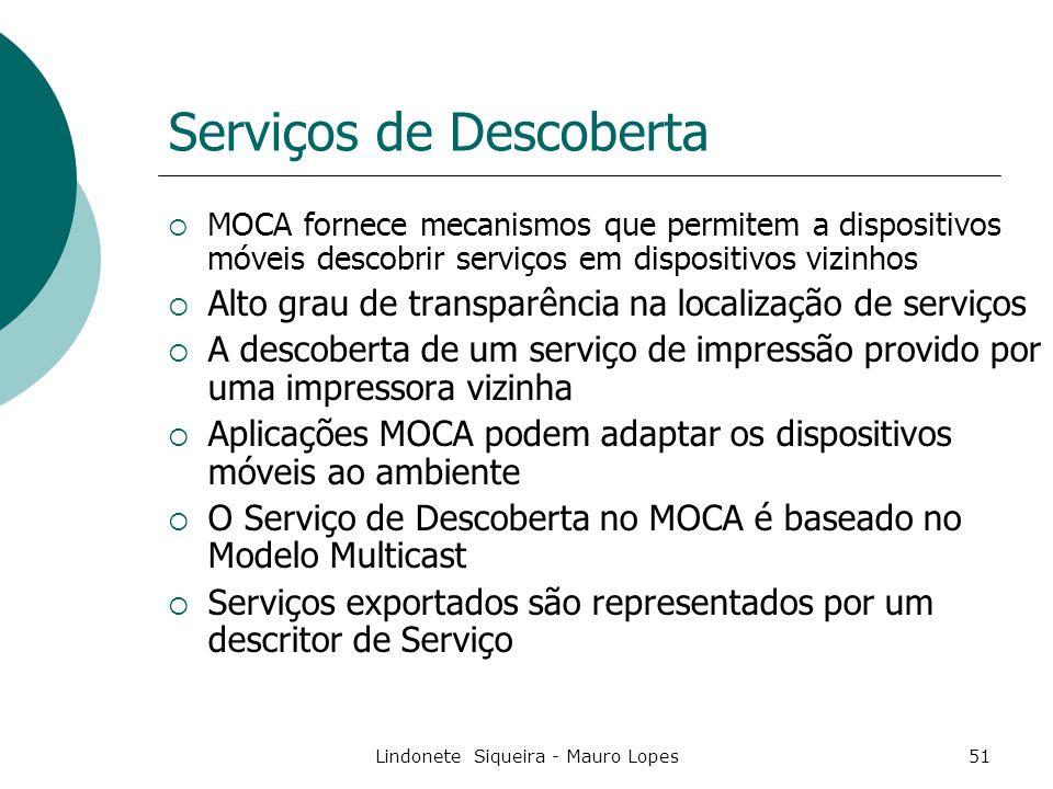 Lindonete Siqueira - Mauro Lopes51 Serviços de Descoberta  MOCA fornece mecanismos que permitem a dispositivos móveis descobrir serviços em dispositivos vizinhos  Alto grau de transparência na localização de serviços  A descoberta de um serviço de impressão provido por uma impressora vizinha  Aplicações MOCA podem adaptar os dispositivos móveis ao ambiente  O Serviço de Descoberta no MOCA é baseado no Modelo Multicast  Serviços exportados são representados por um descritor de Serviço
