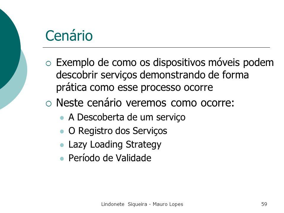 Lindonete Siqueira - Mauro Lopes59 Cenário  Exemplo de como os dispositivos móveis podem descobrir serviços demonstrando de forma prática como esse processo ocorre  Neste cenário veremos como ocorre: A Descoberta de um serviço O Registro dos Serviços Lazy Loading Strategy Período de Validade