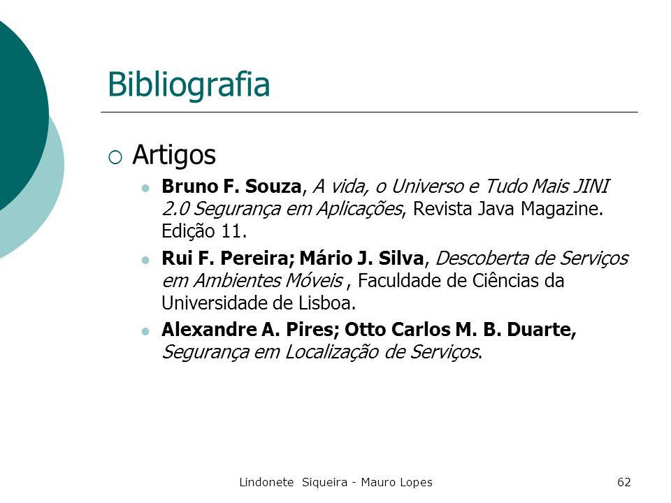 Lindonete Siqueira - Mauro Lopes62 Bibliografia  Artigos Bruno F.