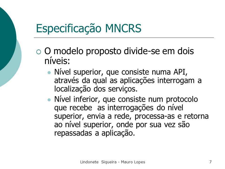 Lindonete Siqueira - Mauro Lopes7 Especificação MNCRS  O modelo proposto divide-se em dois níveis: Nível superior, que consiste numa API, através da qual as aplicações interrogam a localização dos serviços.