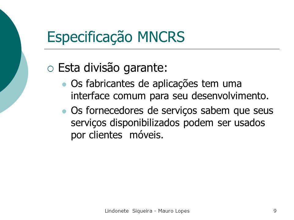Lindonete Siqueira - Mauro Lopes9 Especificação MNCRS  Esta divisão garante: Os fabricantes de aplicações tem uma interface comum para seu desenvolvimento.