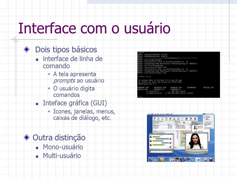 Interface com o usuário Dois tipos básicos interface de linha de comando  A tela apresenta prompts ao usuário  O usuário digita comandos Inteface gráfica (GUI)  Icones, janelas, menus, caixas de diálogo, etc.