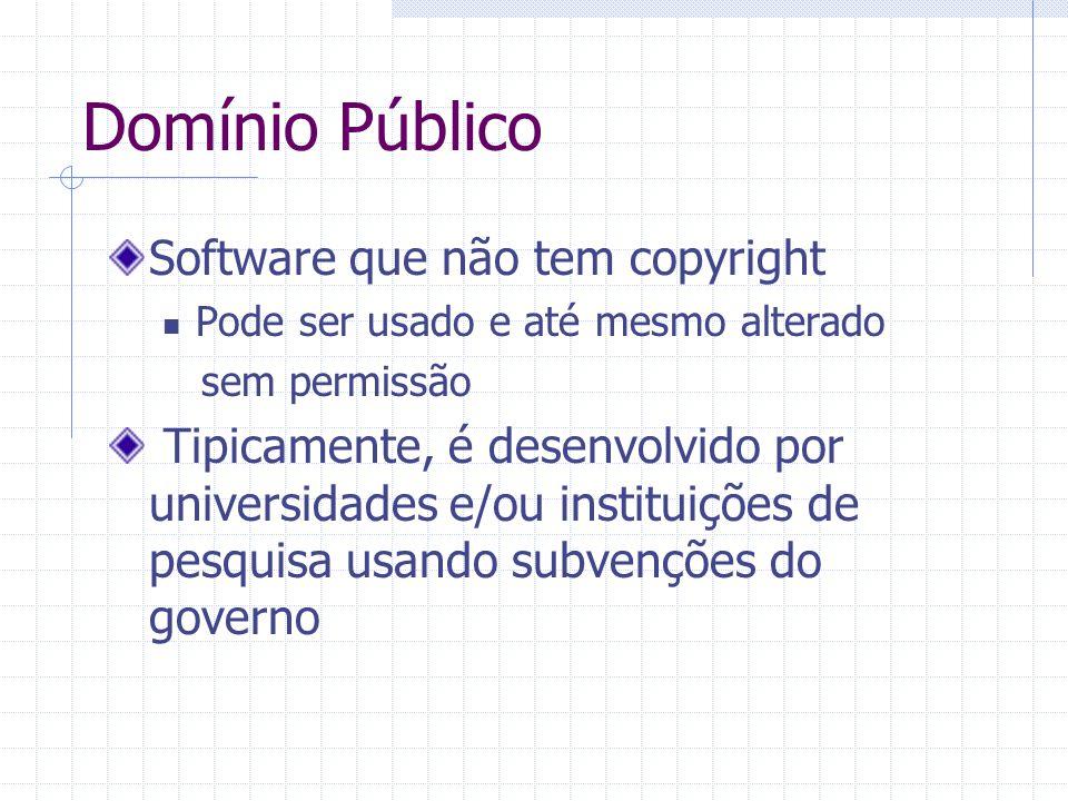 Domínio Público Software que não tem copyright Pode ser usado e até mesmo alterado sem permissão Tipicamente, é desenvolvido por universidades e/ou instituições de pesquisa usando subvenções do governo