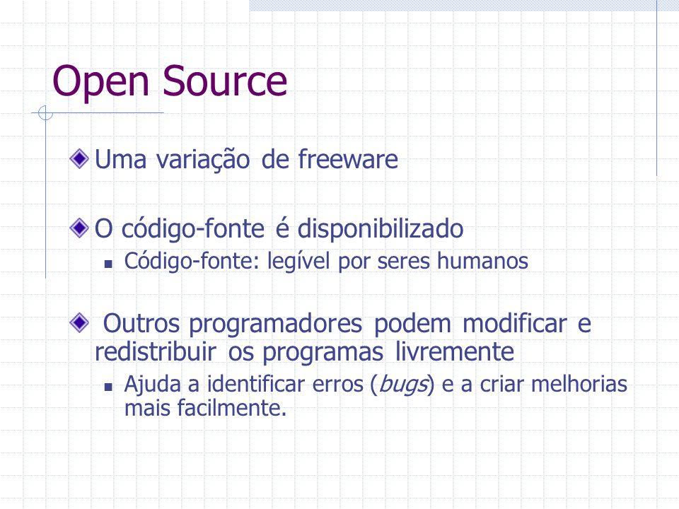 Open Source Uma variação de freeware O código-fonte é disponibilizado Código-fonte: legível por seres humanos Outros programadores podem modificar e redistribuir os programas livremente Ajuda a identificar erros (bugs) e a criar melhorias mais facilmente.