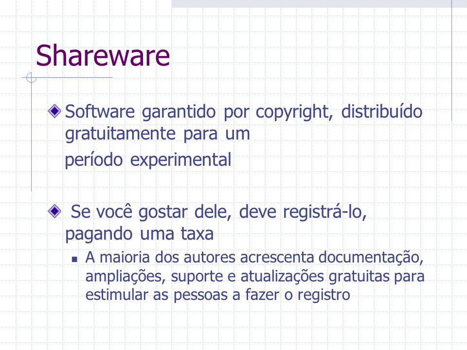 Shareware Software garantido por copyright, distribuído gratuitamente para um período experimental Se você gostar dele, deve registrá-lo, pagando uma taxa A maioria dos autores acrescenta documentação, ampliações, suporte e atualizações gratuitas para estimular as pessoas a fazer o registro