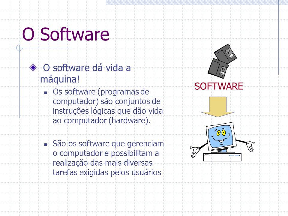 O Software O software dá vida a máquina! Os software (programas de computador) são conjuntos de instruções lógicas que dão vida ao computador (hardwar