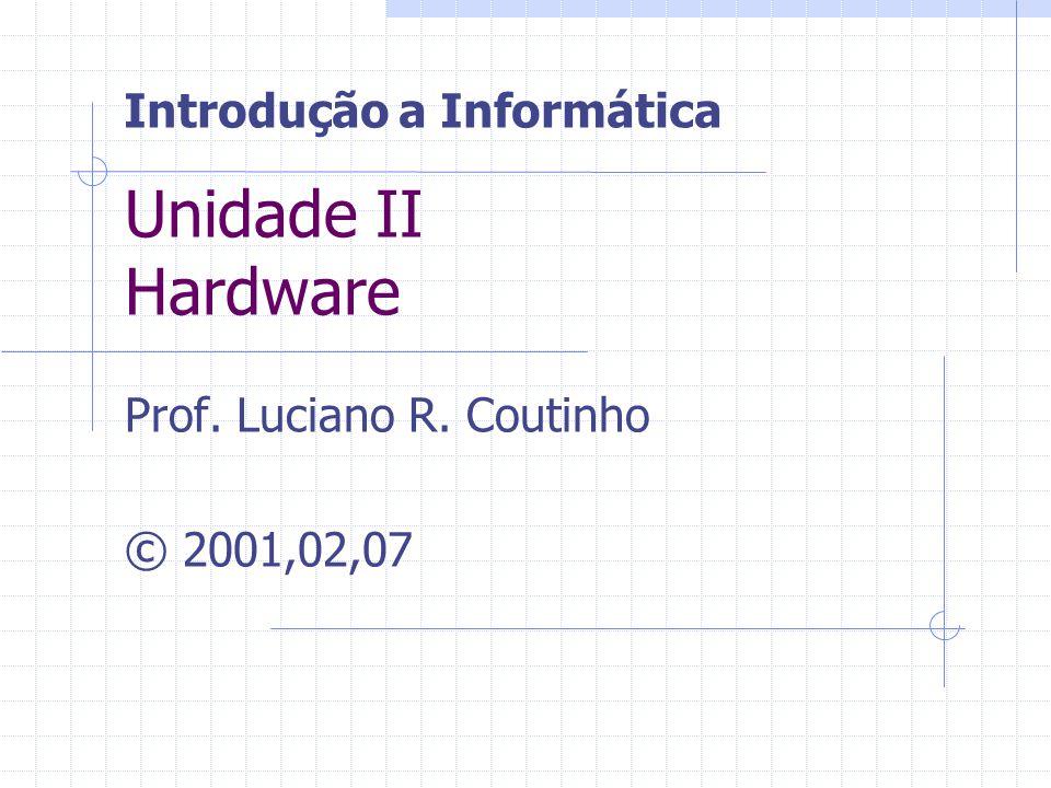 Unidade II Hardware Prof. Luciano R. Coutinho © 2001,02,07 Introdução a Informática