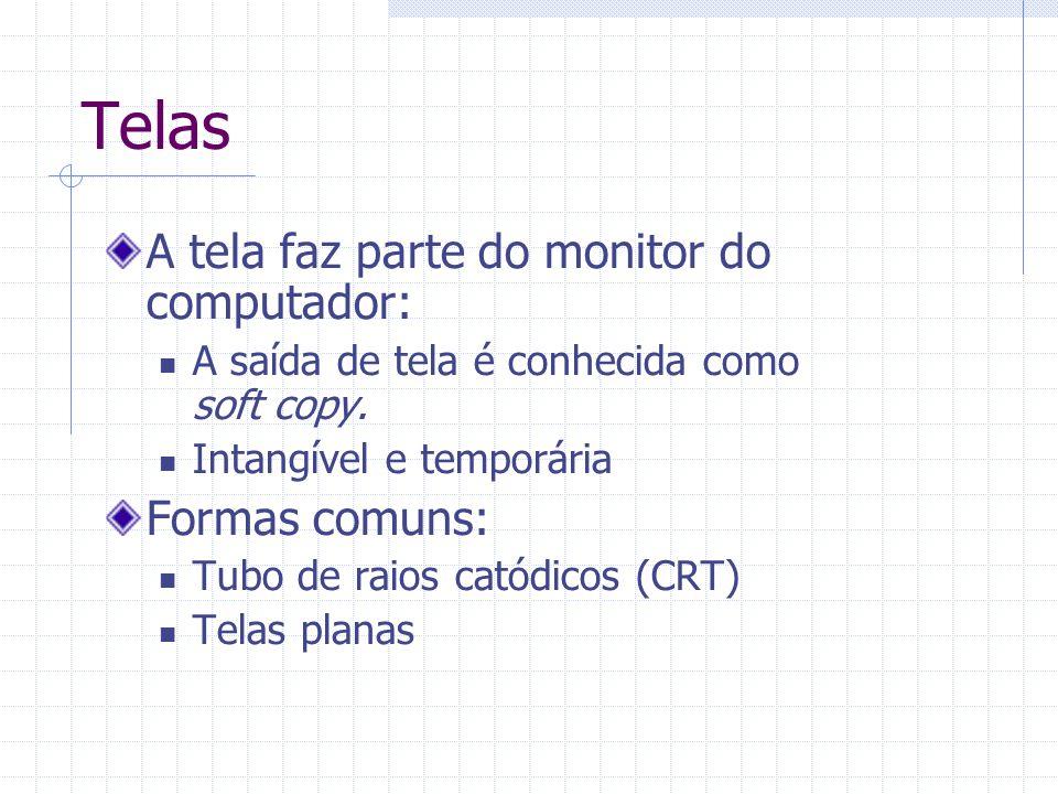 Telas A tela faz parte do monitor do computador: A saída de tela é conhecida como soft copy. Intangível e temporária Formas comuns: Tubo de raios cató