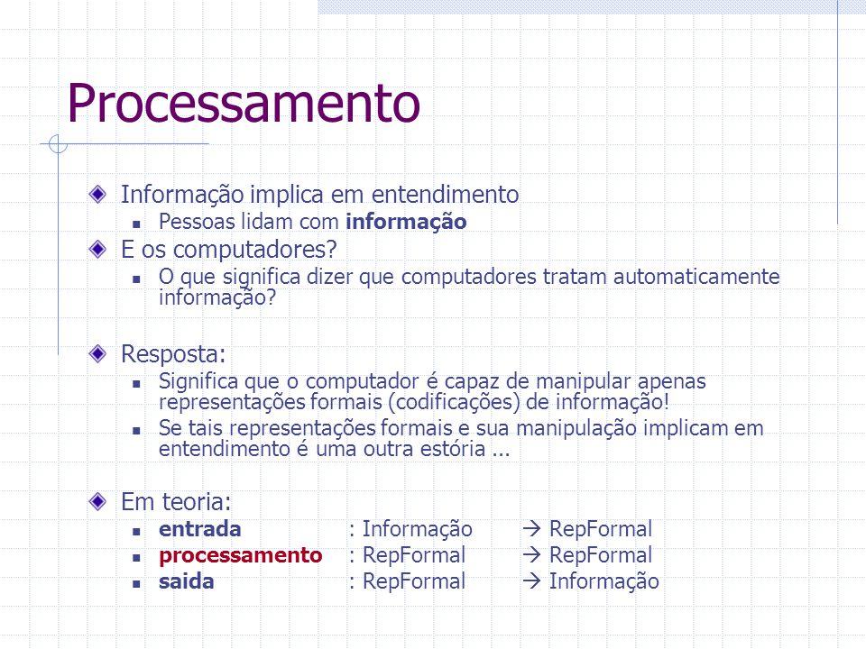 Processamento Informação implica em entendimento Pessoas lidam com informação E os computadores? O que significa dizer que computadores tratam automat