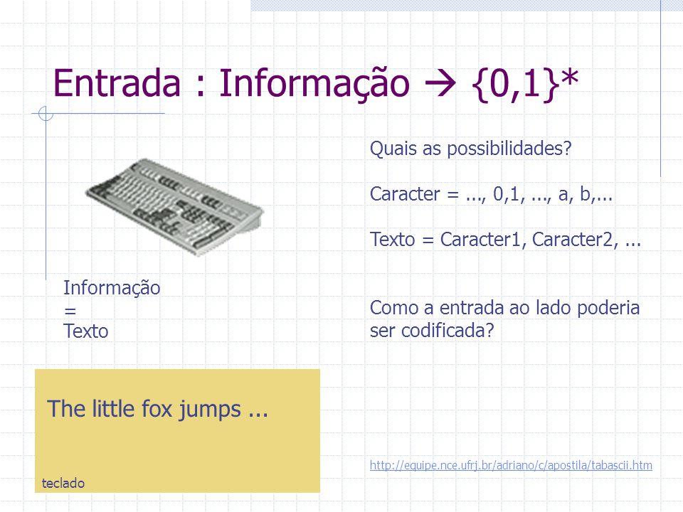 Entrada : Informação  {0,1}* Informação = Quais as possibilidades? Caracter =..., 0,1,..., a, b,... Texto = Caracter1, Caracter2,... Como a entrada a