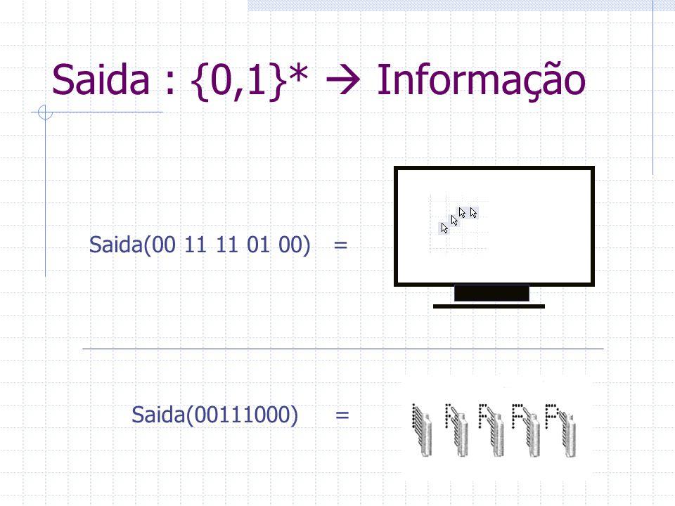Saida : {0,1}*  Informação Saida(00 11 11 01 00) = Saida(00111000)=