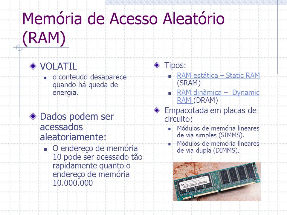 Memória de Acesso Aleatório (RAM) Tipos: RAM estática – Static RAM (SRAM) RAM estática – Static RAM RAM dinâmica – Dynamic RAM (DRAM) RAM dinâmica – D