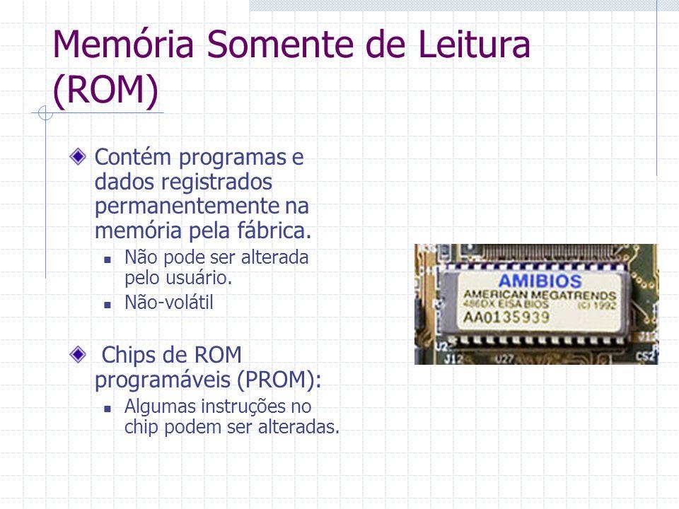 Memória Somente de Leitura (ROM) Contém programas e dados registrados permanentemente na memória pela fábrica. Não pode ser alterada pelo usuário. Não