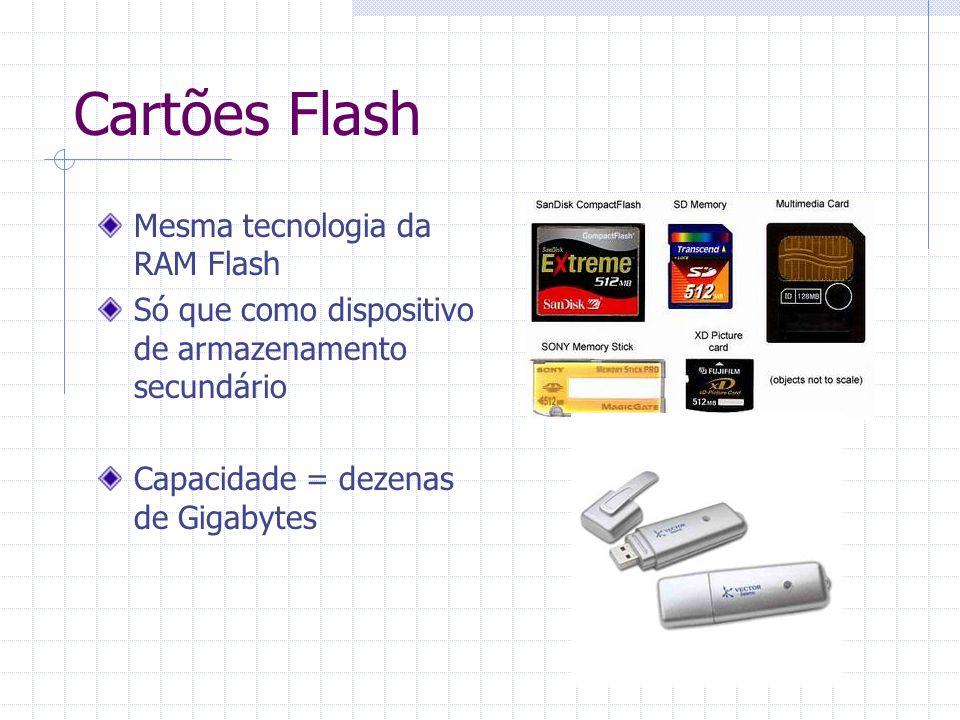 Cartões Flash Mesma tecnologia da RAM Flash Só que como dispositivo de armazenamento secundário Capacidade = dezenas de Gigabytes