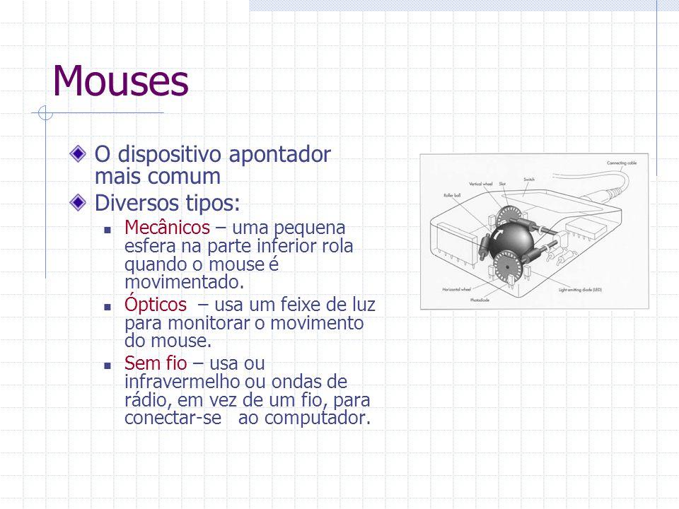 Mouses O dispositivo apontador mais comum Diversos tipos: Mecânicos – uma pequena esfera na parte inferior rola quando o mouse é movimentado. Ópticos