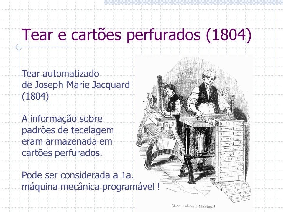 Tear e cartões perfurados (1804) Tear automatizado de Joseph Marie Jacquard (1804) A informação sobre padrões de tecelagem eram armazenada em cartões