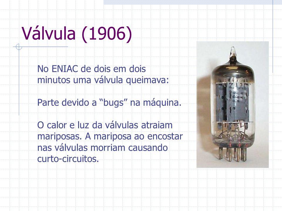 """Válvula (1906) No ENIAC de dois em dois minutos uma válvula queimava: Parte devido a """"bugs"""" na máquina. O calor e luz da válvulas atraiam mariposas. A"""