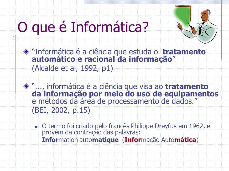 """O que é Informática? """"Informática é a ciência que estuda o tratamento automático e racional da informação"""" (Alcalde et al, 1992, p1) """"..., informática"""